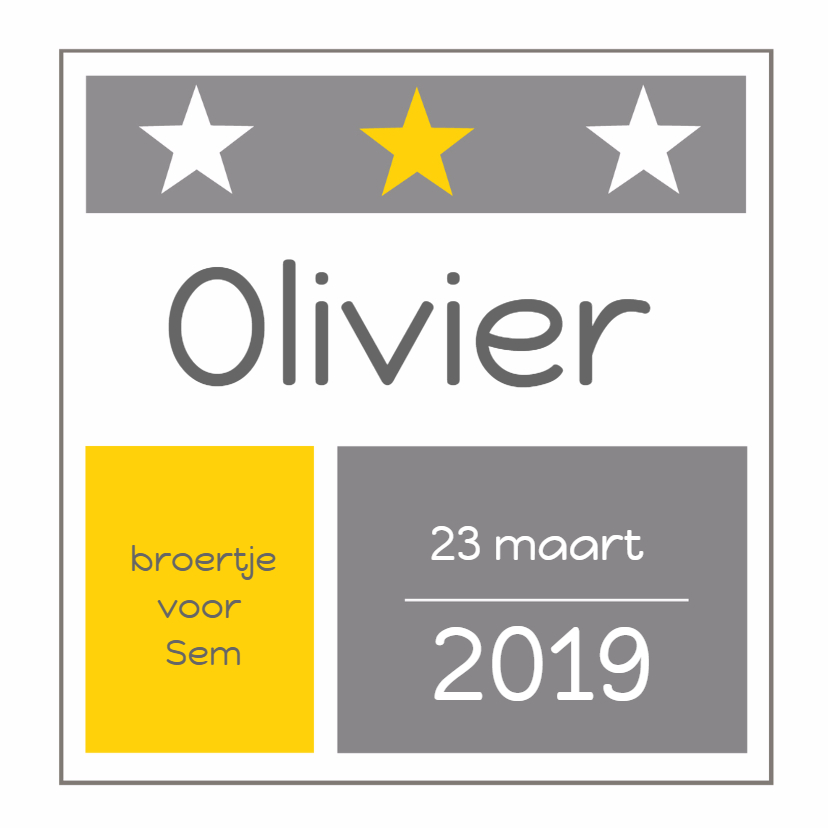 Geboortekaartjes - Geboortekaartje Olivier sterren