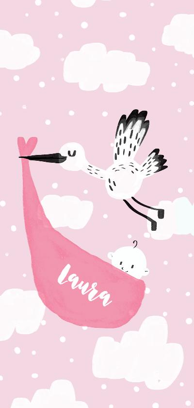 Geboortekaartjes - Geboortekaartje Ooievaar lief roze