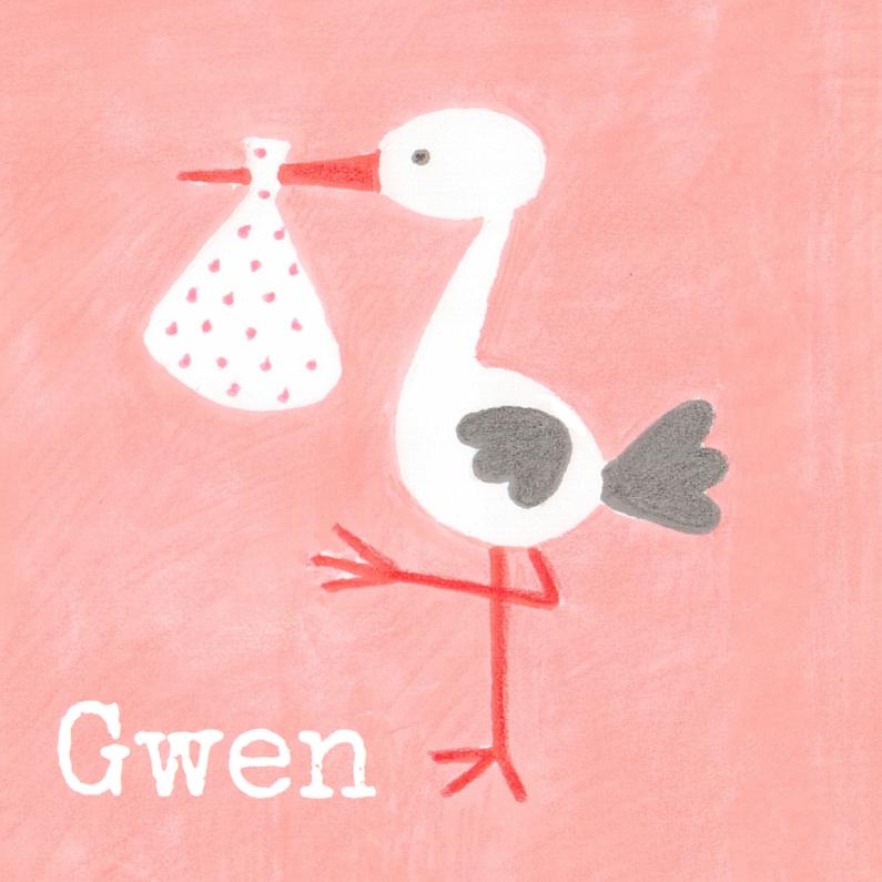 Geboortekaartjes - Geboortekaartje ooievaar op roze