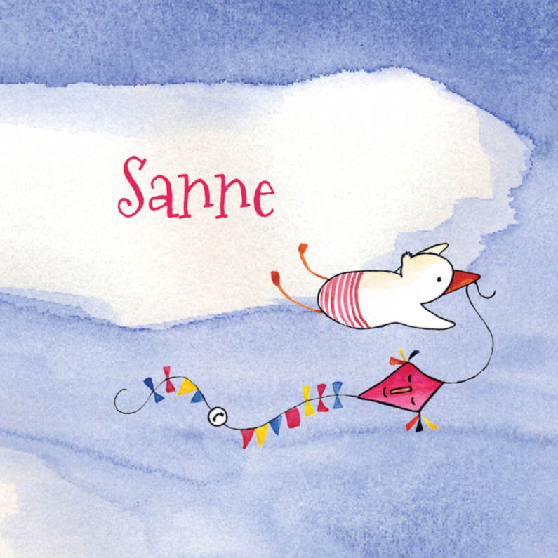 Geboortekaartjes - Geboortekaartje ooievaar Sanne
