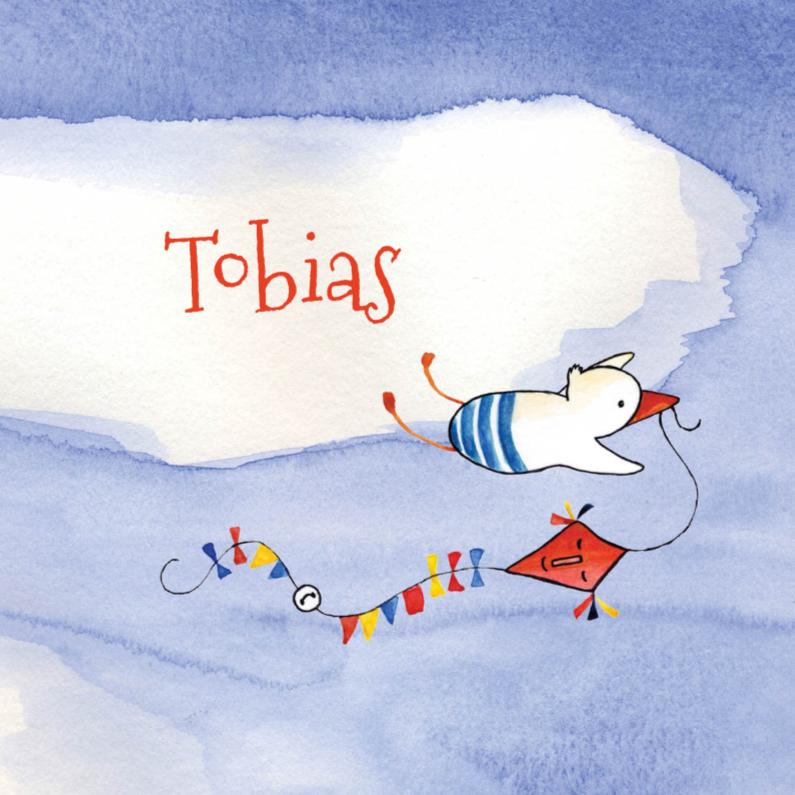 Geboortekaartjes - Geboortekaartje ooievaar Tobias