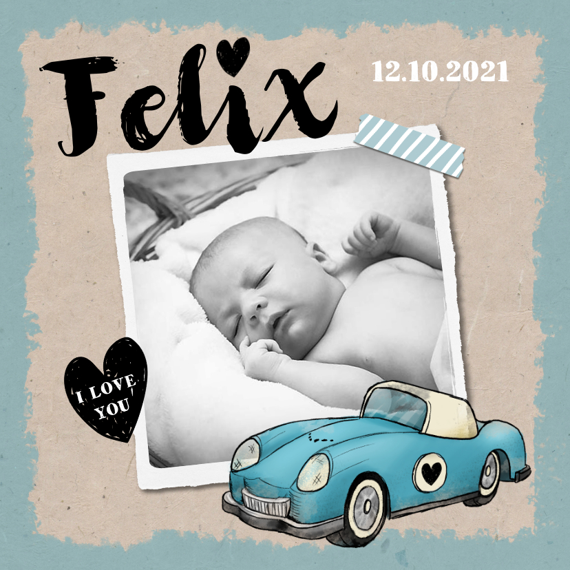 Geboortekaartjes - Geboortekaartje origineel en vintage met eigen foto
