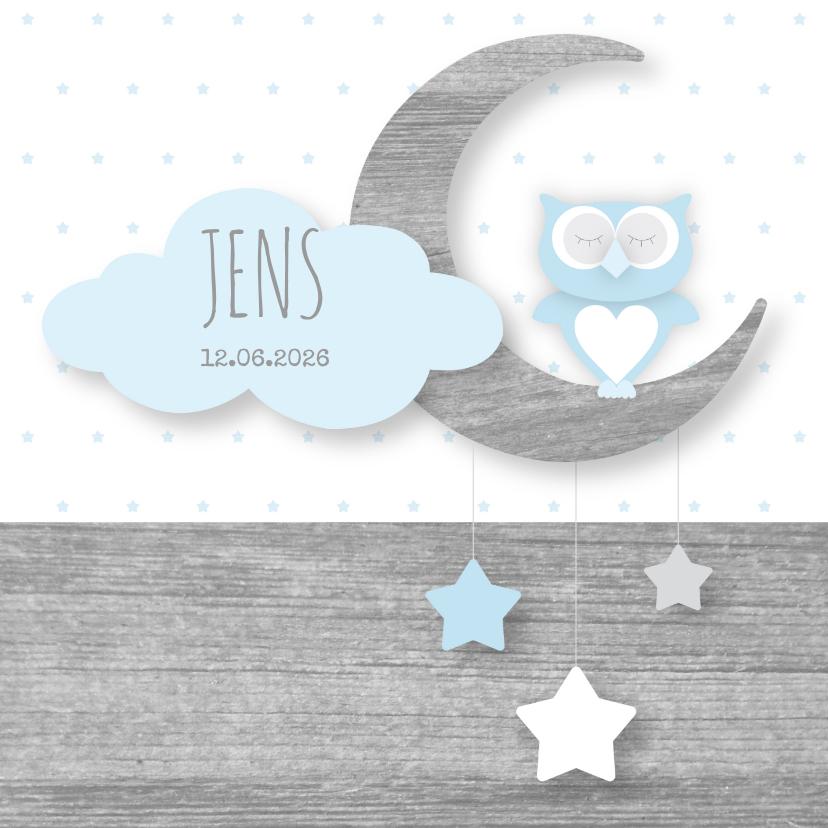 Geboortekaartjes - Geboortekaartje Owl Moon Boy