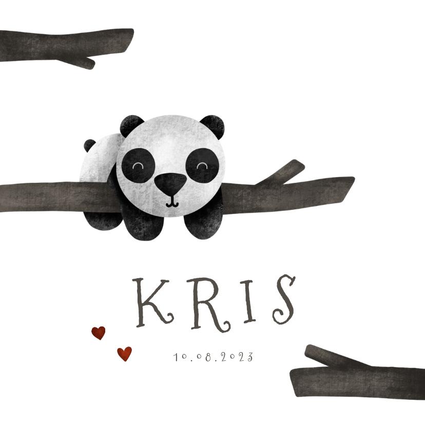 Geboortekaartjes - Geboortekaartje panda met takjes lief