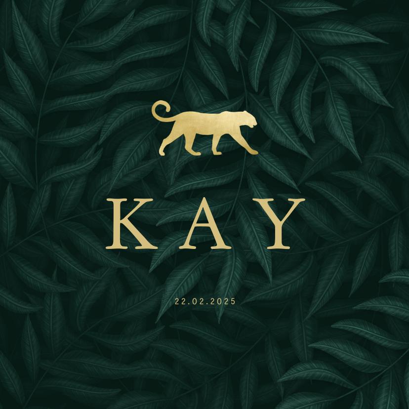 Geboortekaartjes - Geboortekaartje panter silhouet goud met jungle bladeren