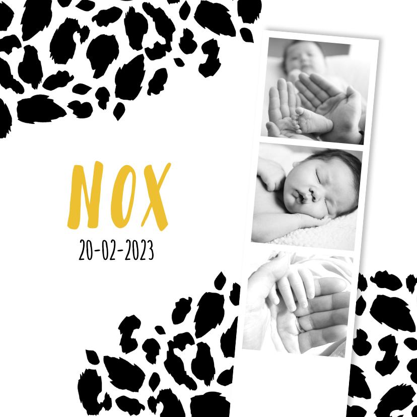 Geboortekaartjes - Geboortekaartje panterprint fotostrip zwart-wit