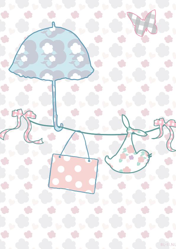 Geboortekaartjes - geboortekaartje paraplu meisje