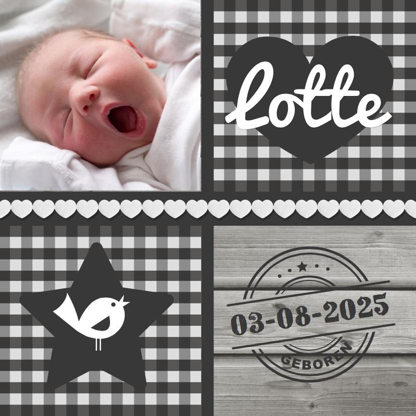 Geboortekaartjes - Geboortekaartje patchwork Ruitje