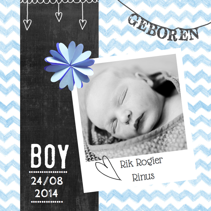 Geboortekaartjes - Geboortekaartje patroon Rik