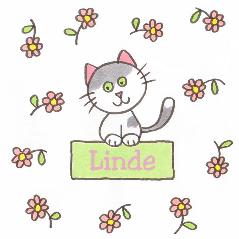 Geboortekaartjes - Geboortekaartje poes bloemen