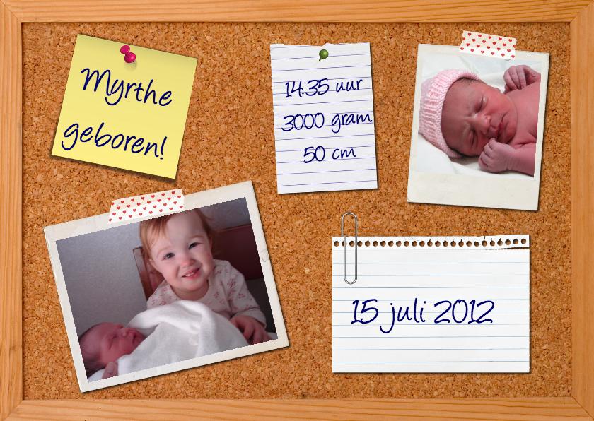 Geboortekaartjes - Geboortekaartje Prikbord Meisje