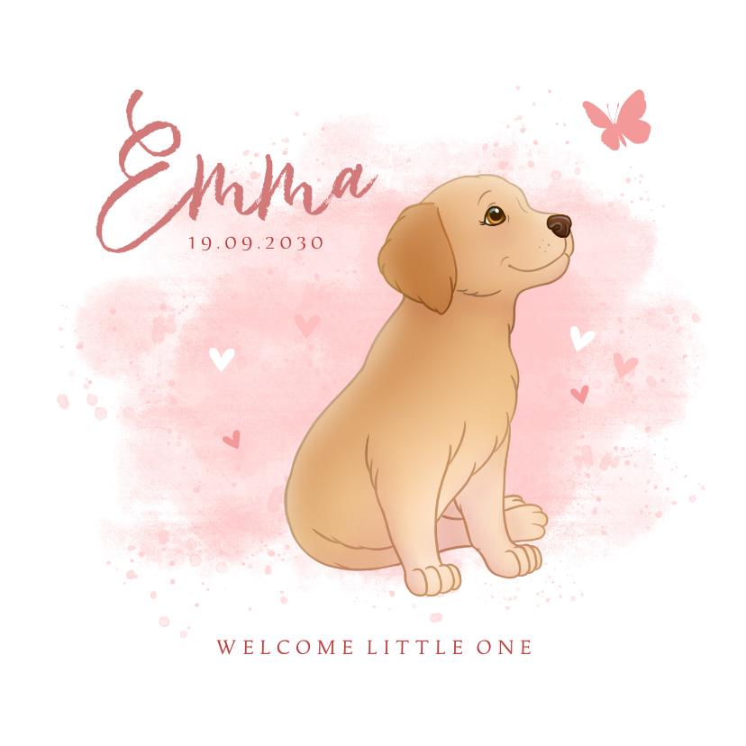 Geboortekaartjes - Geboortekaartje puppy roze achtegrond met hartjes vlinder