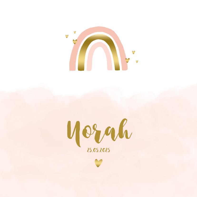 Geboortekaartjes - Geboortekaartje regenboog hartjes wolken roze