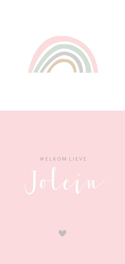 Geboortekaartjes - Geboortekaartje regenboog langwerpig roze