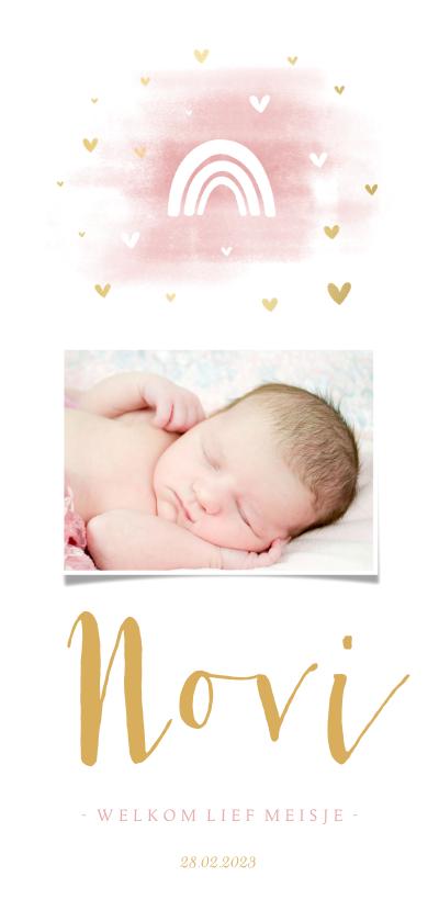 Geboortekaartjes - Geboortekaartje regenboog met foto, hartjes en waterverf