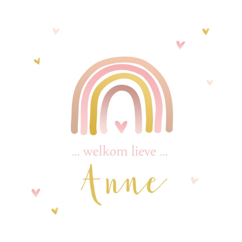 Geboortekaartjes - Geboortekaartje regenboog roze goudlook