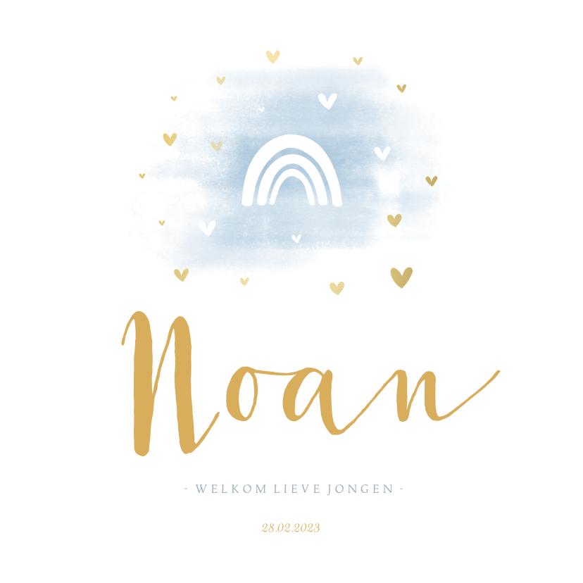 Geboortekaartjes - Geboortekaartje regenboog silhouet met hartjes en waterverf
