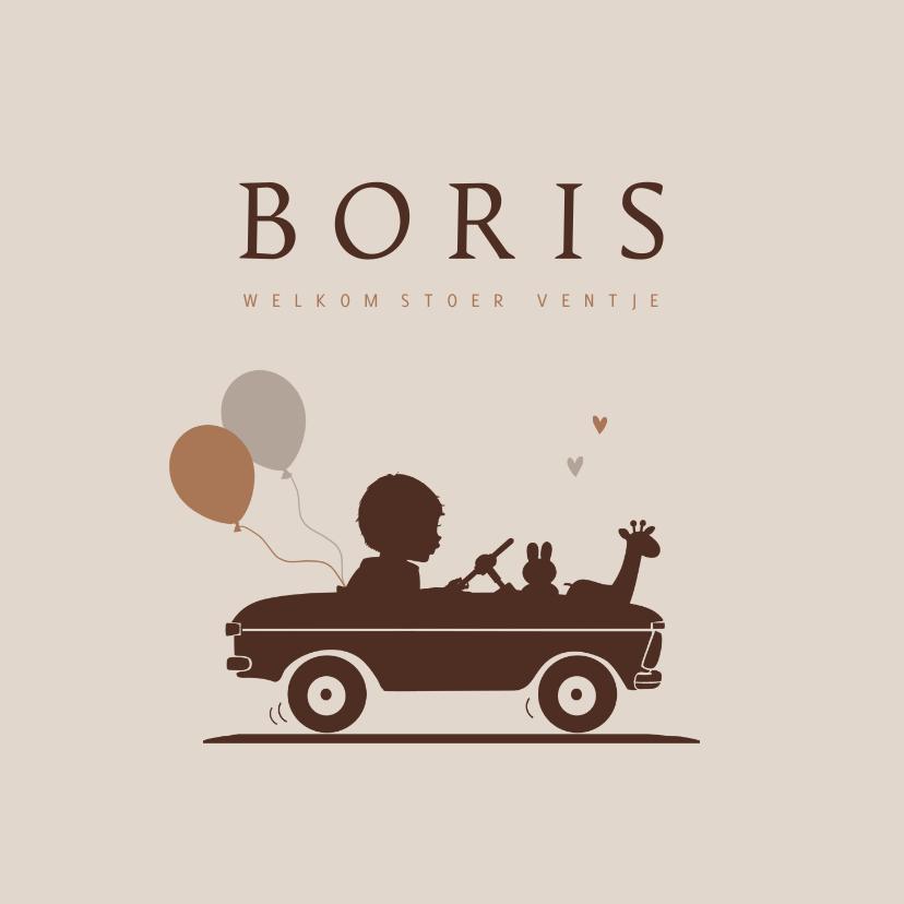 Geboortekaartjes - Geboortekaartje retro auto met ballonnen jongen