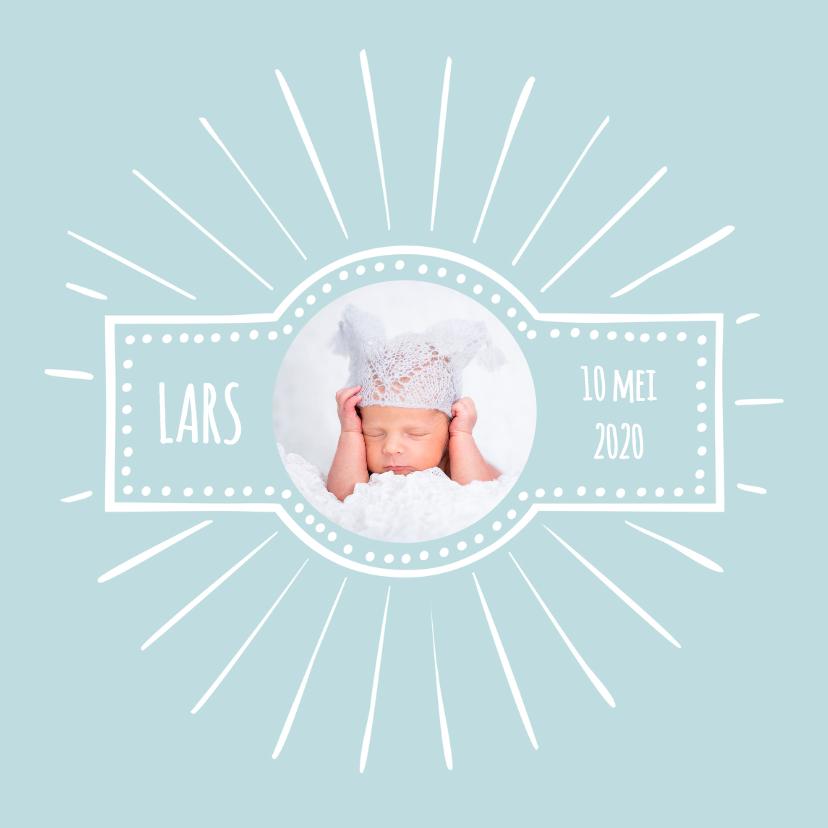 Geboortekaartjes - Geboortekaartje retro blauw 2 OT
