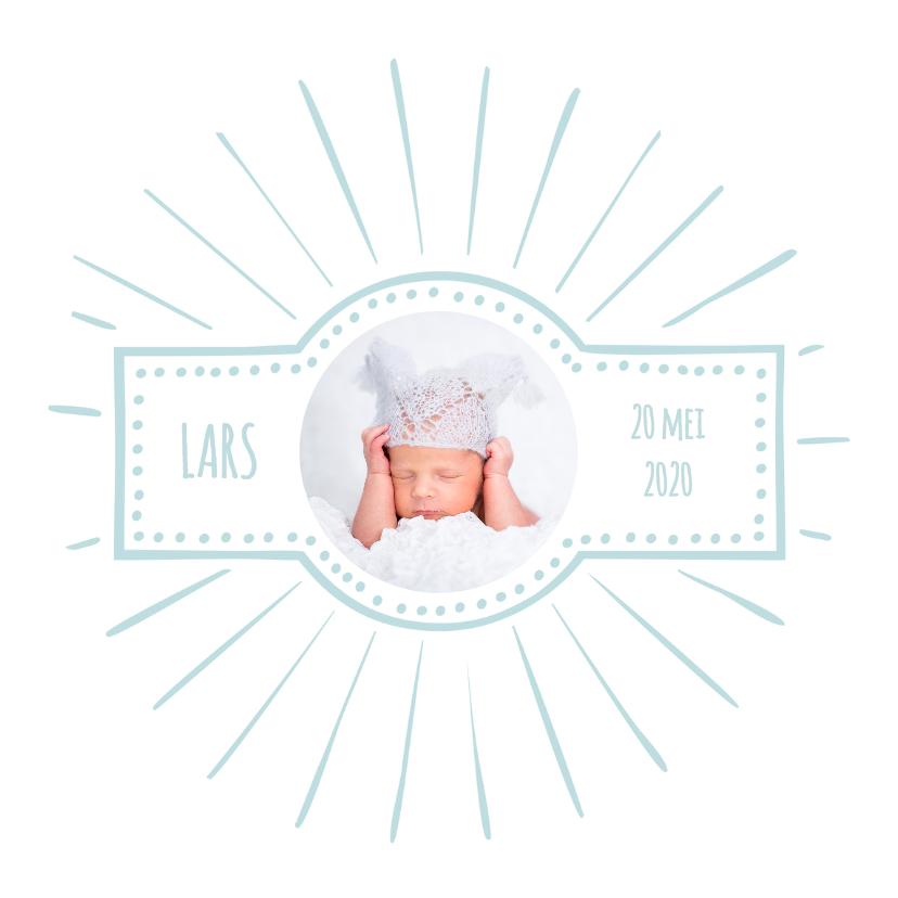 Geboortekaartjes - Geboortekaartje retro blauw OT