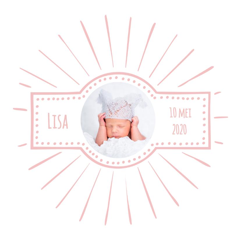 Geboortekaartjes - Geboortekaartje retro roze OT