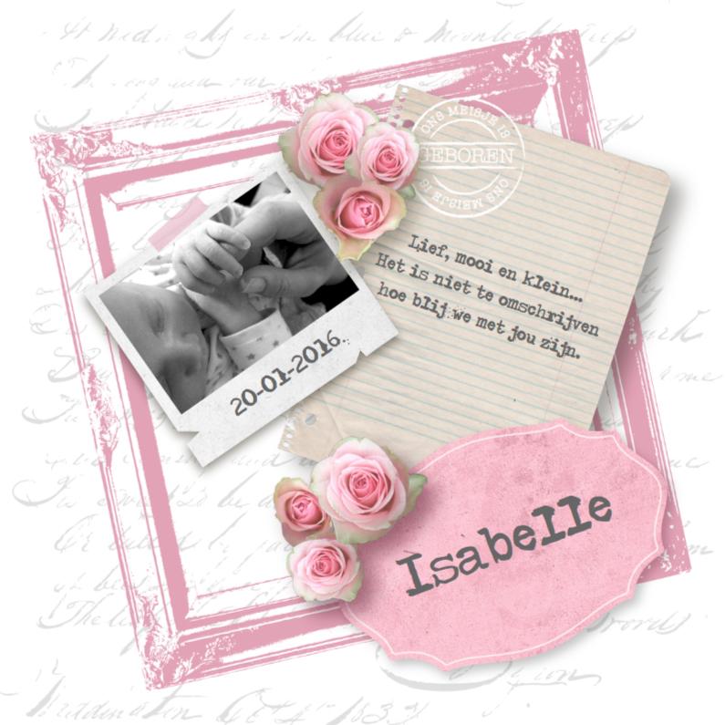 Geboortekaartjes - Geboortekaartje Romantic Vintage Meisje