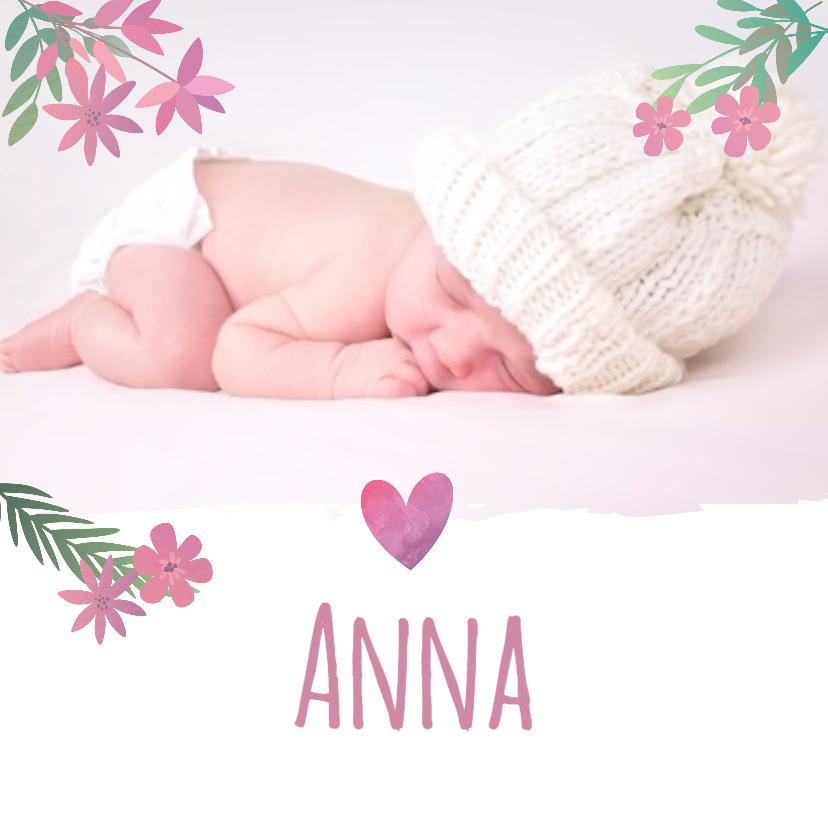 Geboortekaartjes - Geboortekaartje roze bloemetjes en foto