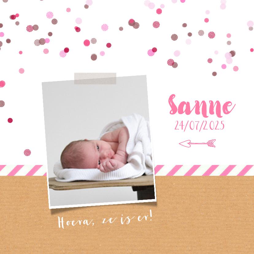 Geboortekaartjes - Geboortekaartje roze confetti