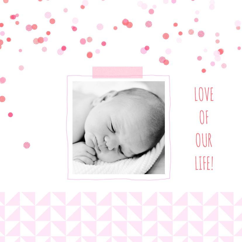 Geboortekaartjes - Geboortekaartje roze driehoekjes