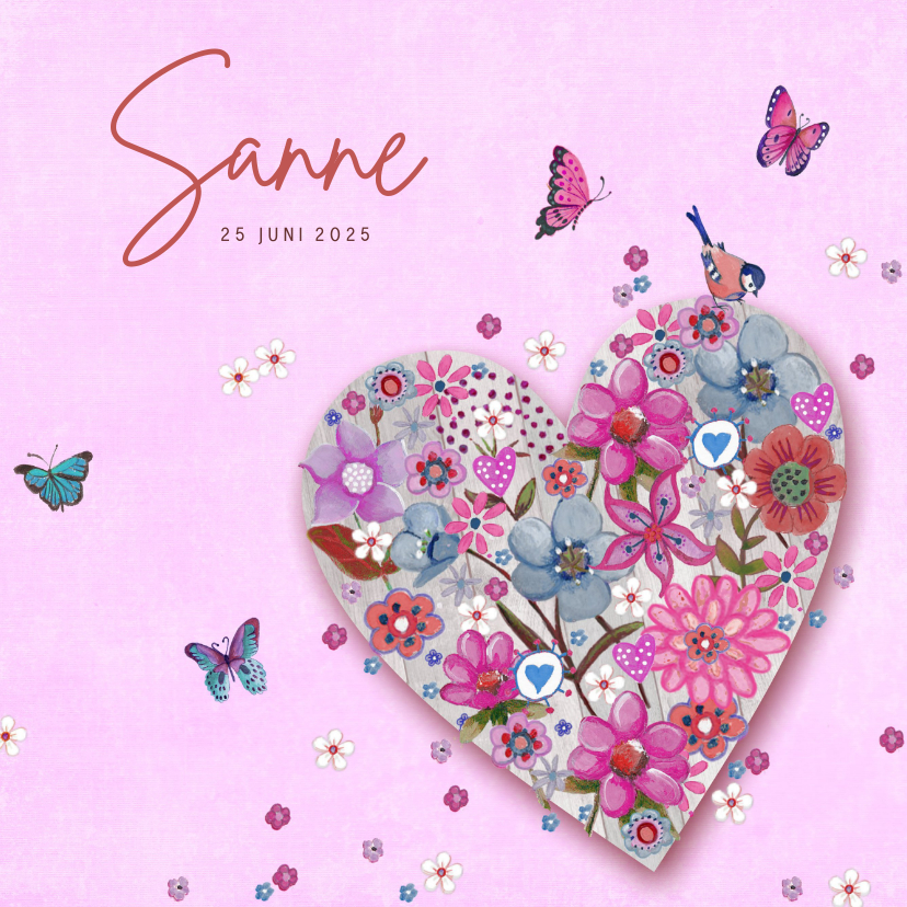 Geboortekaartjes - Geboortekaartje Roze Hart Bloem