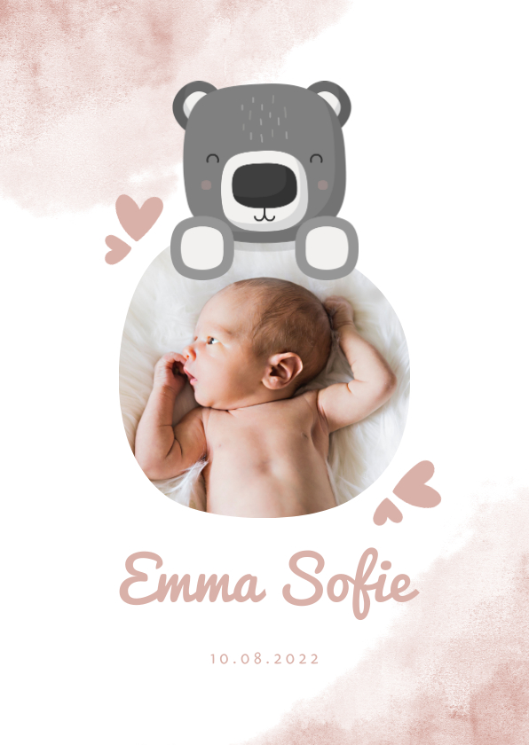 Geboortekaartjes - Geboortekaartje roze met foto, beer en waterverf