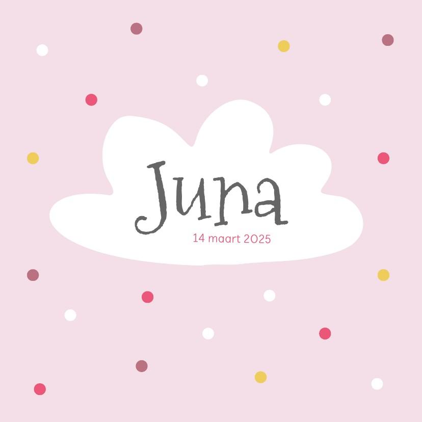 Geboortekaartjes - Geboortekaartje - roze met wolk en stippen
