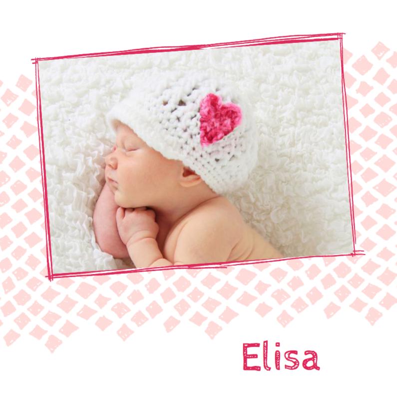 Geboortekaartjes - Geboortekaartje roze ruit foto