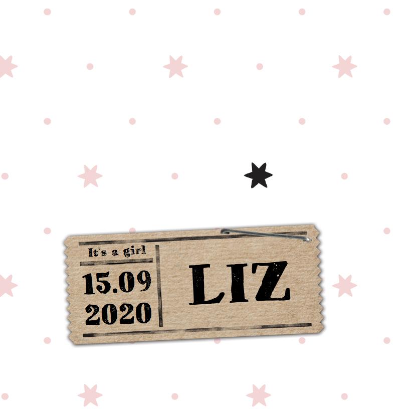 Geboortekaartjes - Geboortekaartje roze sterren Liz - LO