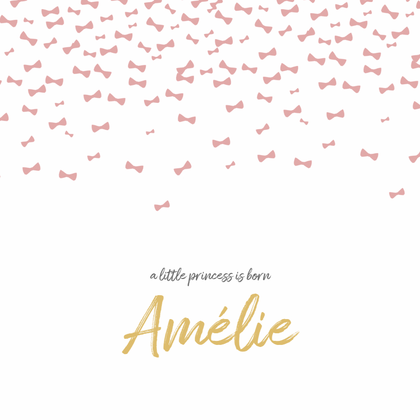 Geboortekaartjes - Geboortekaartje roze strikjes
