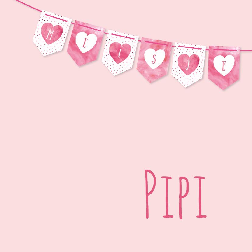 Geboortekaartjes - Geboortekaartje roze vlaggetjes