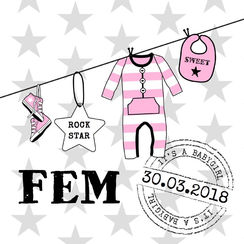 Geboortekaartjes - Geboortekaartje roze waslijn hip
