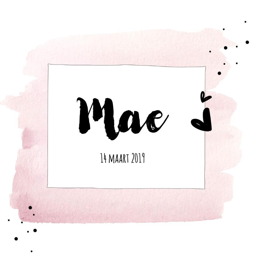 Geboortekaartjes - Geboortekaartje Roze waterverf met hartjes