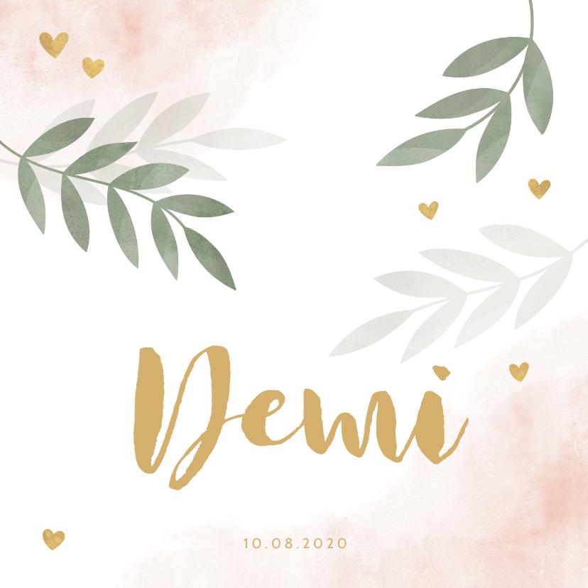 Geboortekaartjes - Geboortekaartje roze waterverf takjes gouden hartjes
