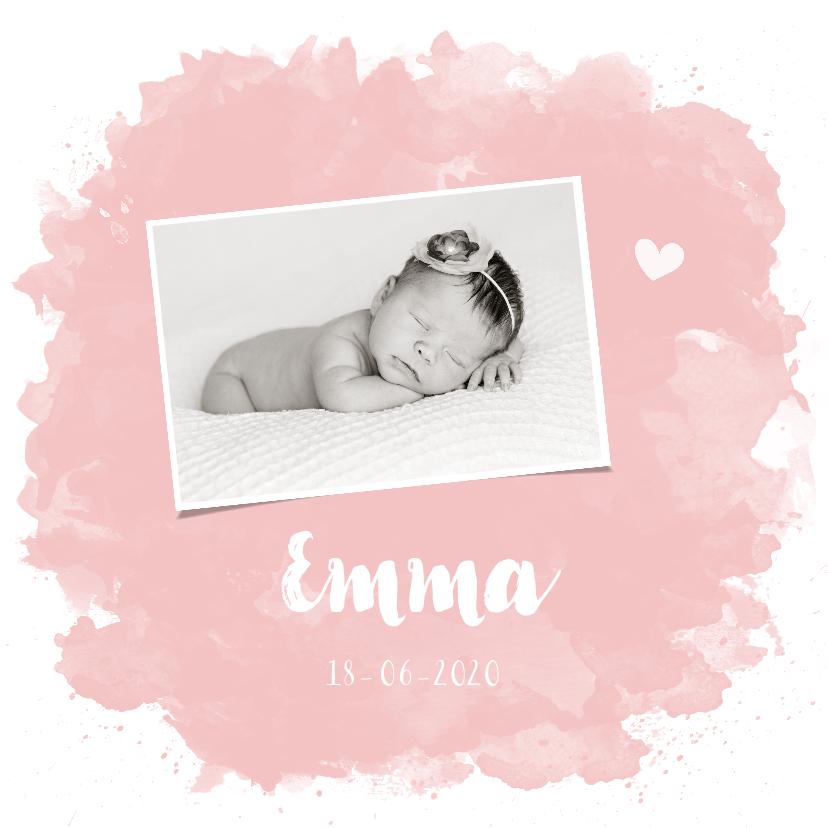 Geboortekaartjes - Geboortekaartje Roze Waterverf