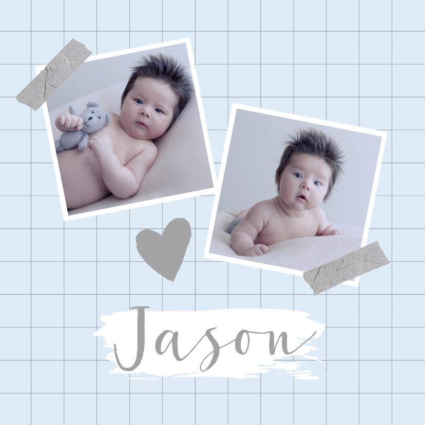Geboortekaartjes - Geboortekaartje ruitpatroon foto's hartje