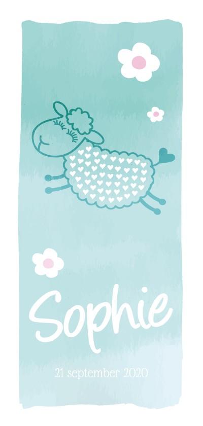 Geboortekaartjes - Geboortekaartje schaap hoog watercolor