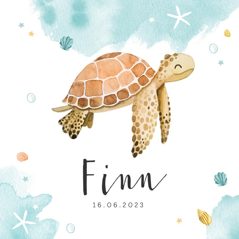 Geboortekaartjes - Geboortekaartje schildpad waterverf lief zeesterren krab
