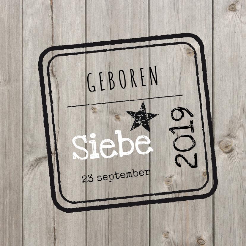 Geboortekaartjes - Geboortekaartje Siebe SS