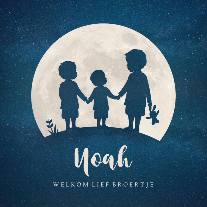 Geboortekaartjes - Geboortekaartje silhouet 3 broers hand in hand in volle maan