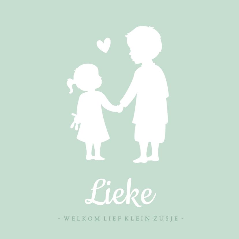 Geboortekaartjes - Geboortekaartje silhouet broer en zusje hand in hand