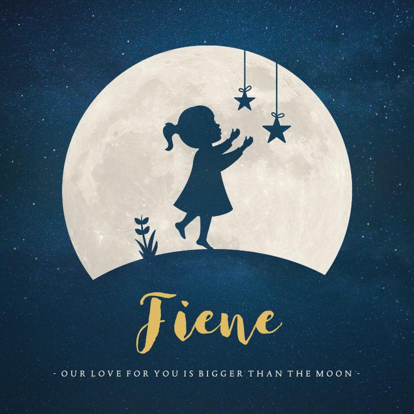 Geboortekaartjes - Geboortekaartje silhouet meisje met sterren bij volle maan