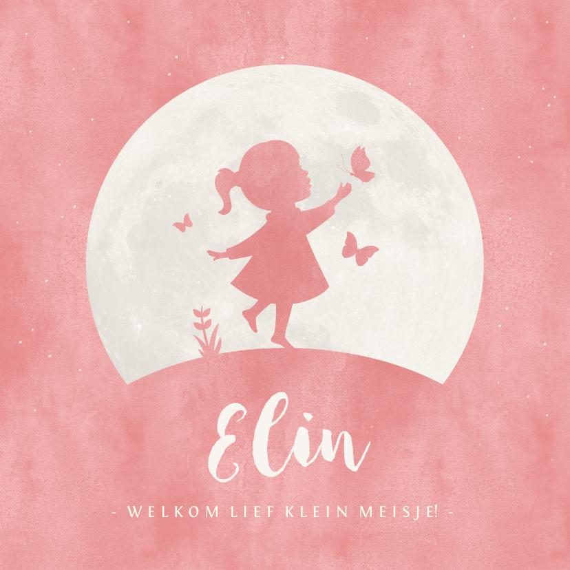 Geboortekaartjes - Geboortekaartje silhouet meisje met vlinders en maan
