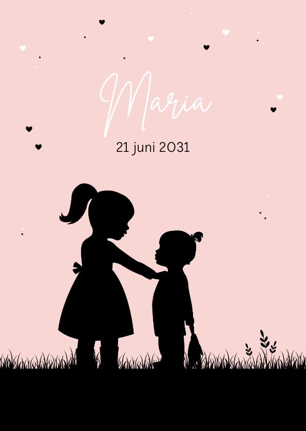 Geboortekaartjes - Geboortekaartje silhouet meisje met zusje