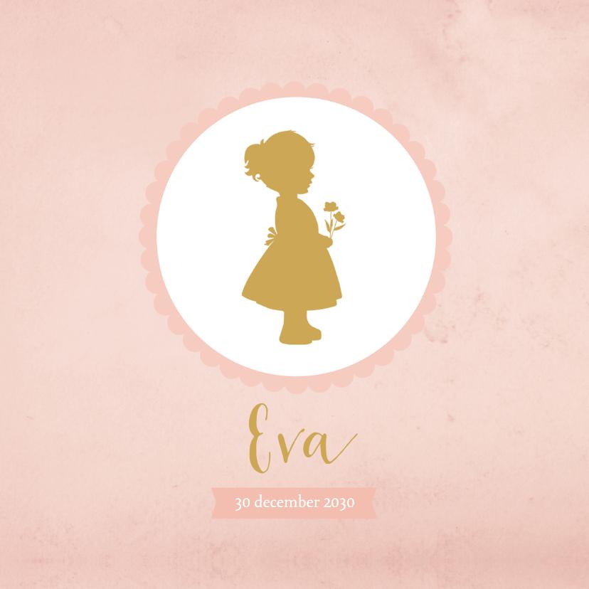 Geboortekaartjes - Geboortekaartje silhouet meisje roze aquarel - BC